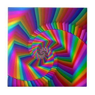 Rainbow Stripes Fractal Spiral Tile