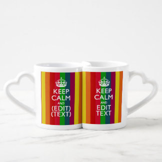 Rainbow Stripes Keep Calm And Your Text Customize Coffee Mug Set