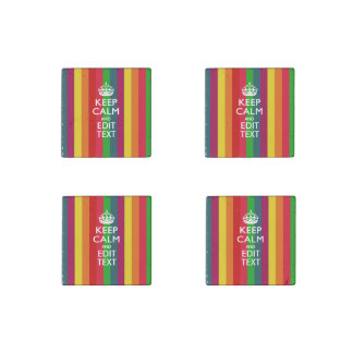 Rainbow Stripes Keep Calm And Your Text Customize Stone Magnet