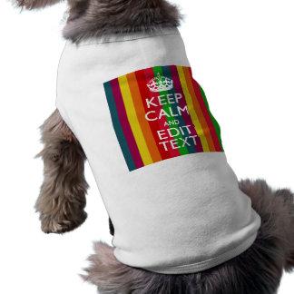 Rainbow Stripes Keep Calm And Your Text Customize T-Shirt