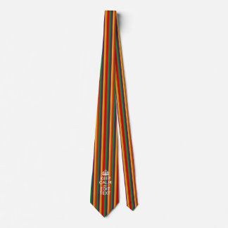 Rainbow Stripes Keep Calm And Your Text Customize Tie