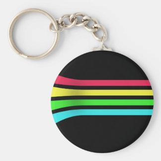 Rainbow Stripes Basic Round Button Keychain