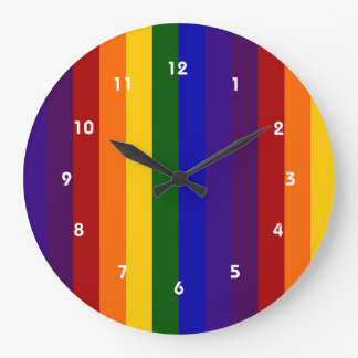 Rainbow Stripes Large Clock