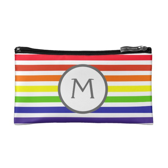 rainbow stripes monogram makeup bag
