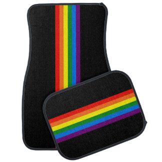 Rainbow Stripes on Black Gay Pride LGBT Support Car Floor Mat