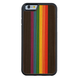 Rainbow Stripes on Black Gay Pride LGBT Support Carved Cherry iPhone 6 Bumper Case