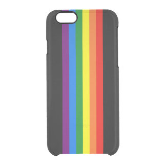 Rainbow Stripes on Black Gay Pride LGBT Support Clear iPhone 6/6S Case