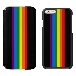 Rainbow Stripes on Black Gay Pride LGBT Support iPhone 6/6s Wallet Case