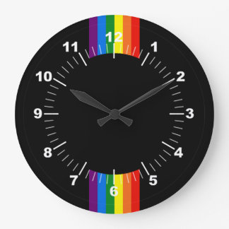 Rainbow Stripes on Black Gay Pride LGBT Support Large Clock
