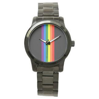 Rainbow Stripes on Black Gay Pride LGBT Support Wrist Watch