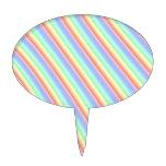 Rainbow Stripes Oval Cake Pick