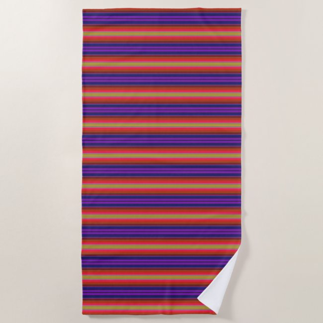 Rainbow Stripes Pattern Beach Towel