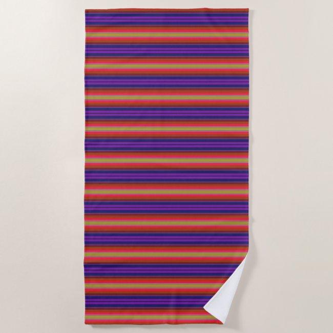 Rainbow Stripes Pattern Beach Towel