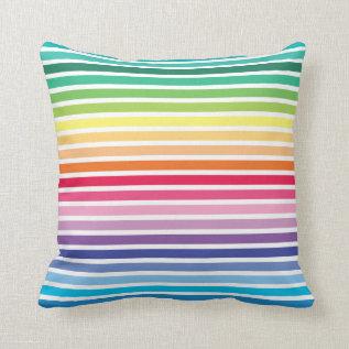 Rainbow Stripes Pattern Pillow at Zazzle