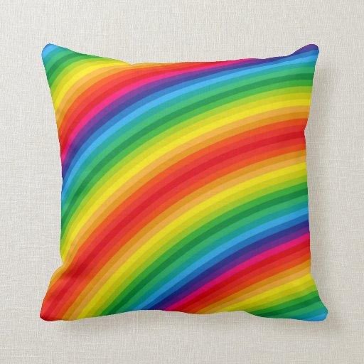 Rainbow Cushion Knitting Pattern : Rainbow Stripes Pattern Pillows Zazzle