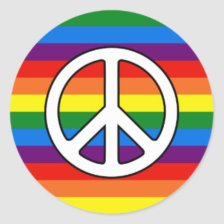 Rainbow Stripes Peace Sign Gay Pride LGBT Support Classic Round Sticker