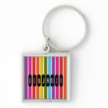 Rainbow Stripes Personalized Keychain