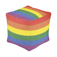 Rainbow stripes pouf