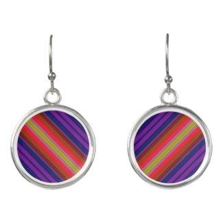 Rainbow Stripes Red Purple Yellow Drop Earrings