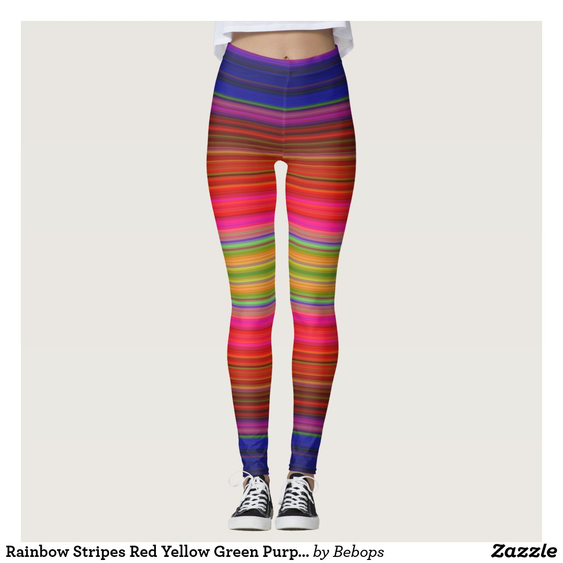 Rainbow Stripes Red Yellow Green Purple Leggings