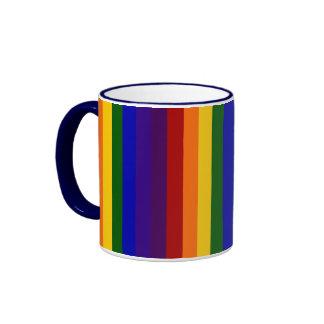 Rainbow Stripes Ringer Coffee Mug