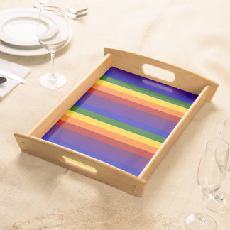 Rainbow Stripes Serving Tray