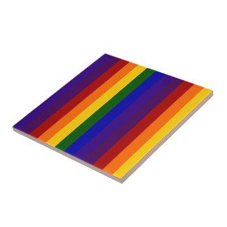Rainbow Stripes Small Square Tile