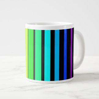Rainbow Stripes 20 Oz Large Ceramic Coffee Mug