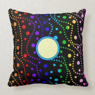 Rainbow Stripes Spray of Polka Dots Custom Pattern Throw Pillow