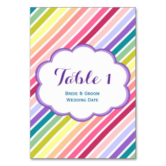 Rainbow Stripes Table Number Cards Table Cards
