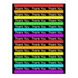 Rainbow Stripes Thank You Post Cards