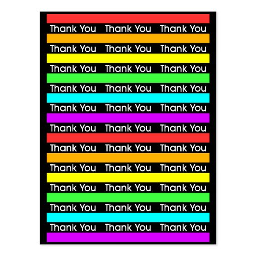 Rainbow Stripes Thank You Postcard