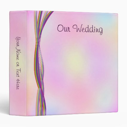 Rainbow Stripes Wedding 3 Ring Binders