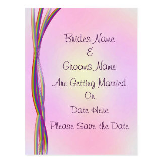 Rainbow Stripes Wedding Save The Date Postcard