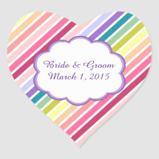 Rainbow Stripes Wedding Stickers