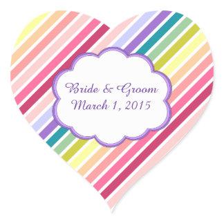 Rainbow Stripes Wedding Stickers