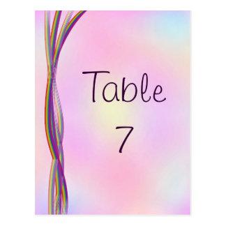 Rainbow Stripes Wedding Table Numbers Postcard