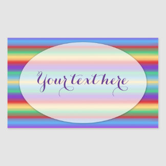 Rainbow Stripes with Oval Matte Rectangular Sticker
