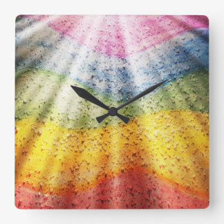 Rainbow Stripes with Sunbeams and Crystals Square Wall Clock