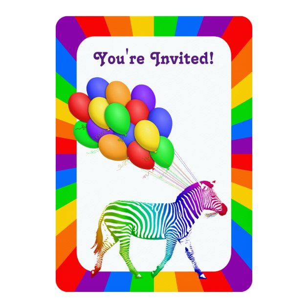 Studio Dalio - Rainbow Zebra with Balloons Party Invitation