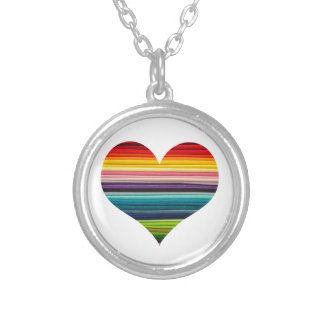 Rainbow Stripey Multicolored Heart Silver Plated Necklace