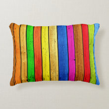 Rainbow strips accent pillow