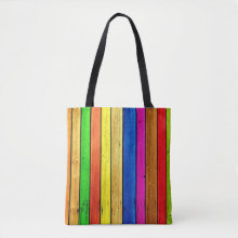 Rainbow strips tote bag