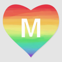 Rainbow Strokes Monogram Heart Sticker