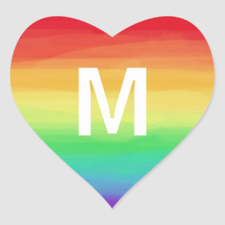 Rainbow Strokes Monogram Heart Sticker
