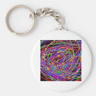 """rainbow """"stuff"""" basic round button keychain"""