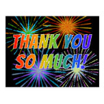"""[ Thumbnail: Rainbow Style """"Thank You So Much!"""", Fireworks Look Postcard ]"""
