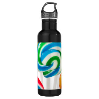 Rainbow Sucker Swirls Stainless Steel Water Bottle