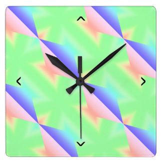 Rainbow Sugar Crystals Light Green Colored Square Wall Clock