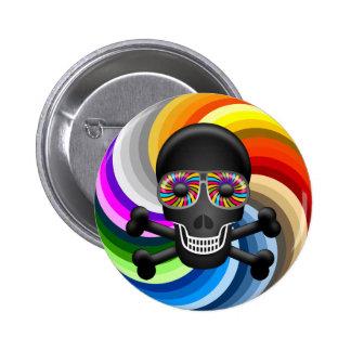 Rainbow Sugar Skull Button